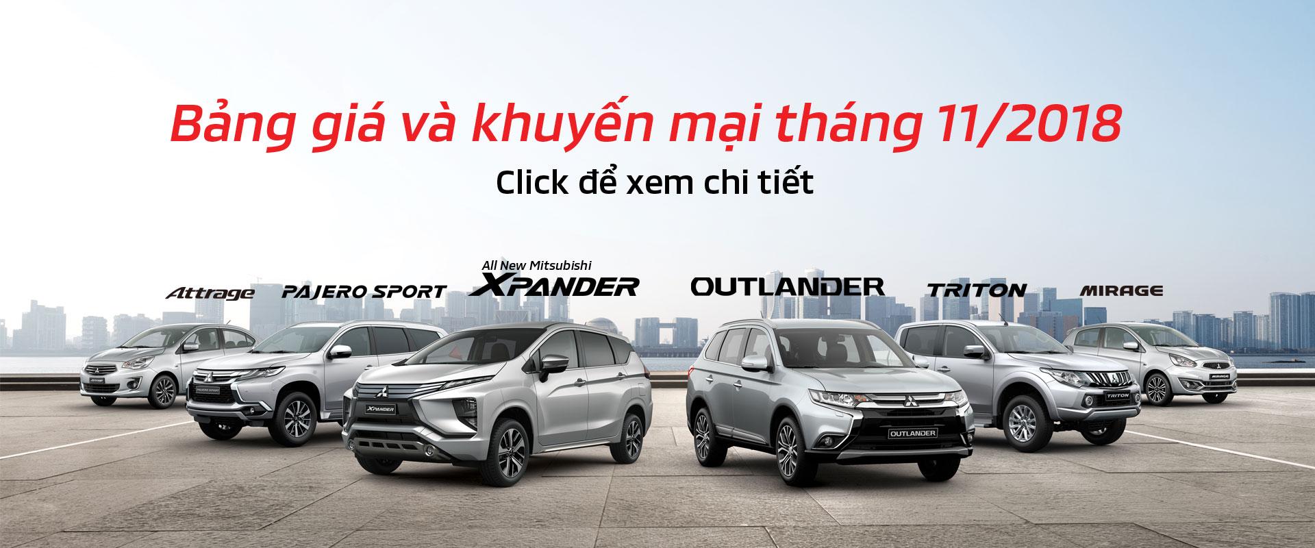 Bảng giá và khuyến mãi xe Mitsubishi tháng 11/2018